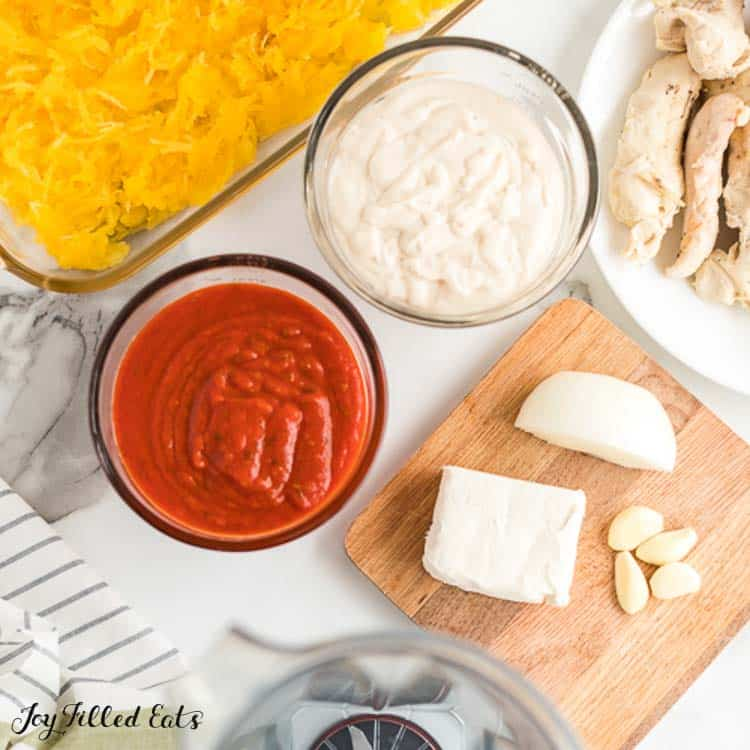 ingredients for the Spaghetti Squash Casserole with Chicken and pink sauce