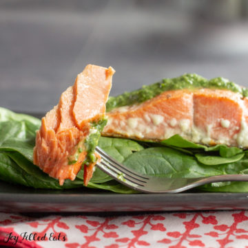 keto salmon on a fork