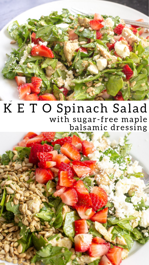 pinterest image for low carb spinach salad