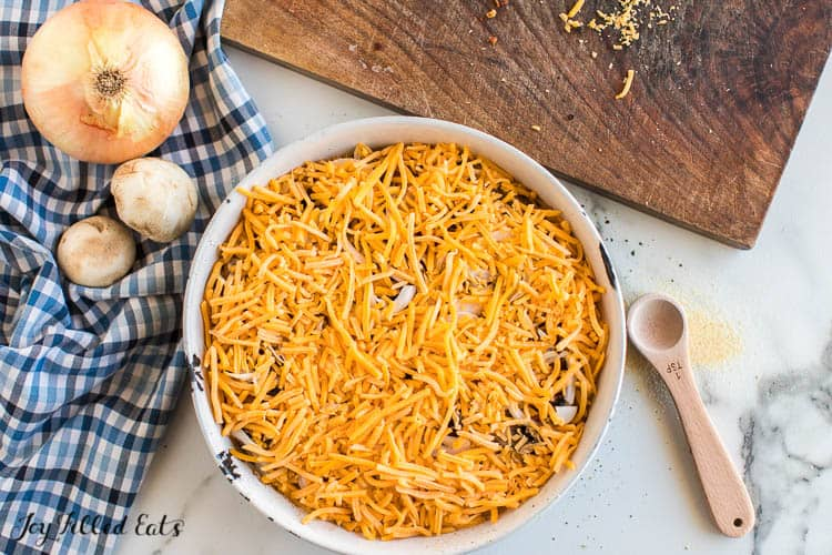 shredded cheese on top of the burger bake