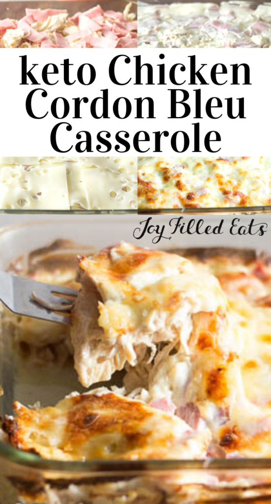 pinterest image for keto chicken cordon bleu casserole