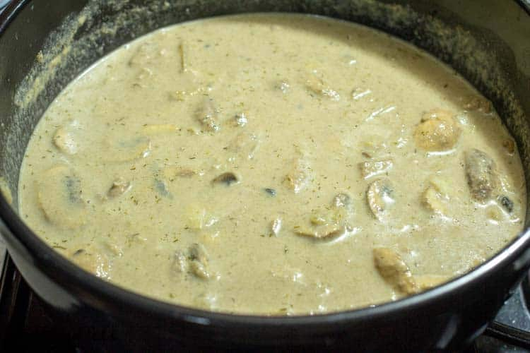a large pot of homemade cream of mushroom soup