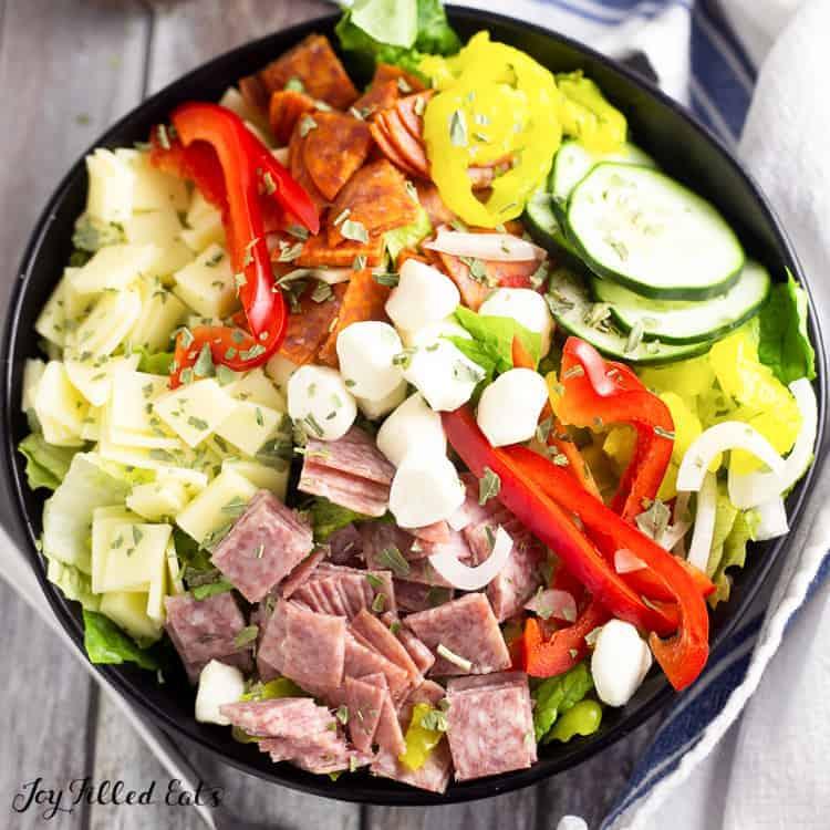 overhead view of Italian sub salad