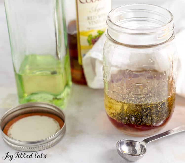 mason jar of homemade salad dressing
