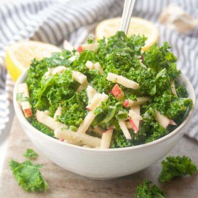 Kale Salad with Apples & Tahini Dressing
