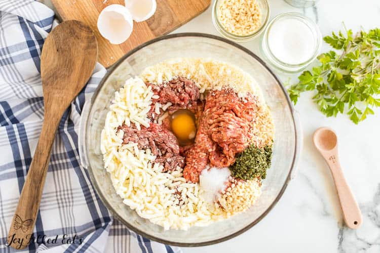 ingredients for the keto meatballs in a glass bowl