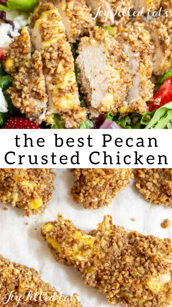 pinterest image for low carb pecan crusted chicken