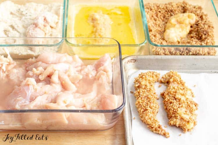 breading station for pecan crusted chicken