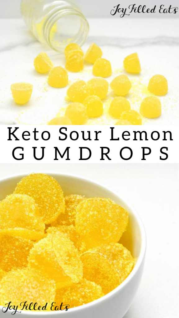 pinterest image for sugar free sour lemon gumdrops