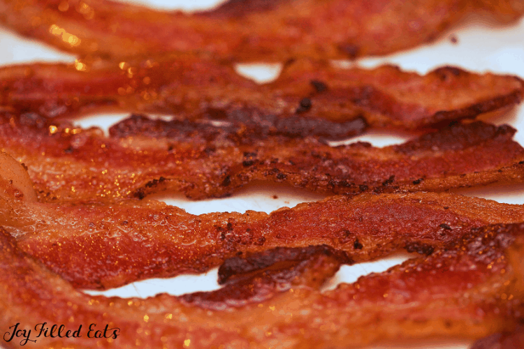 stripes of crispy bacon close up