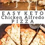 pinterest image for keto chicken alfredo pizza
