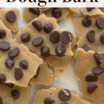 pinterest image for keto chocolate chip cookie dough bark