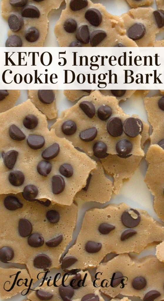 pinterest image for keto cookie dough bark