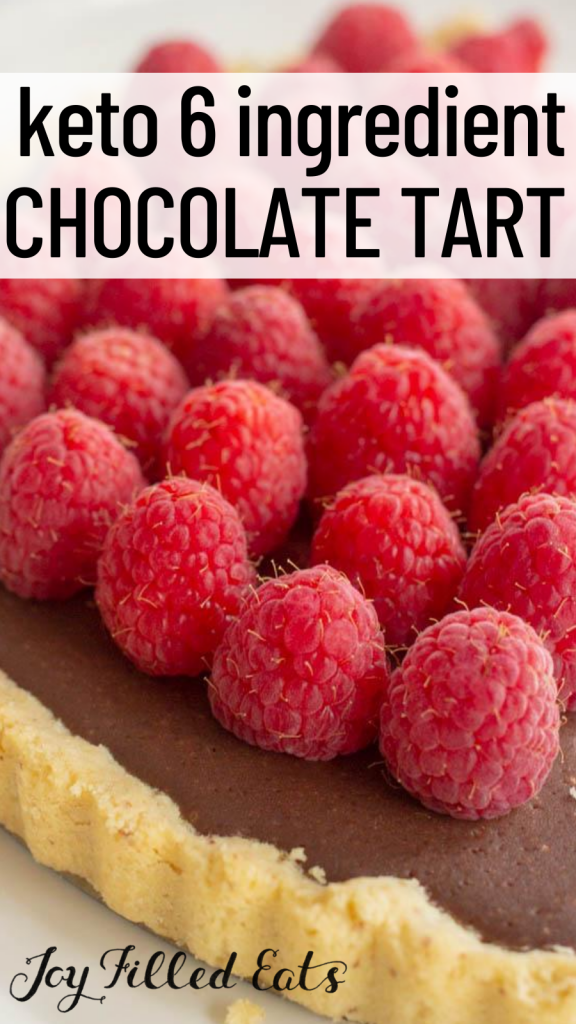 pinterest image for keto chocolate raspberry tart