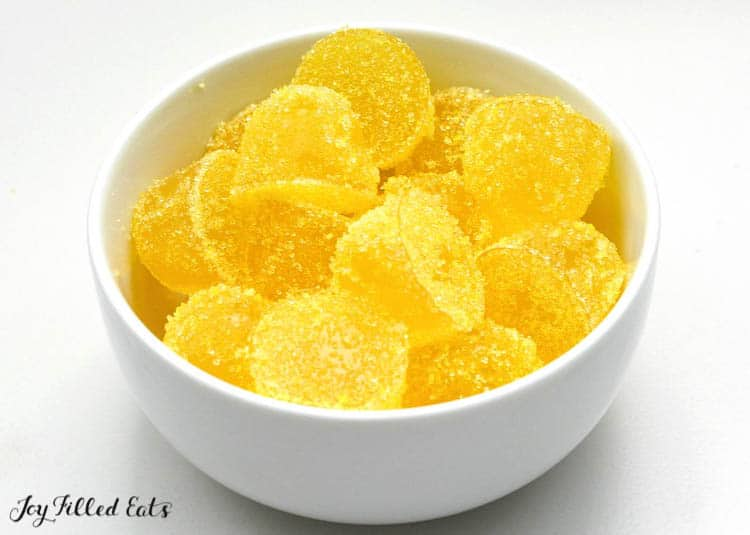 sour lemon gumdrops in a white bowl