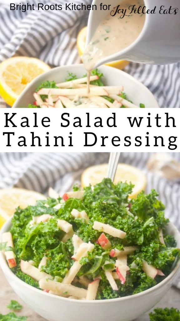 pinterest image for kale salad with tahini dressing