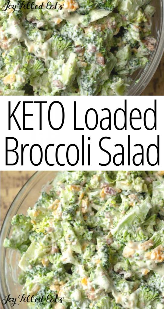 pinterest image for keto broccoli salad