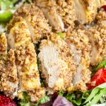 close up of pecan crusted chicken