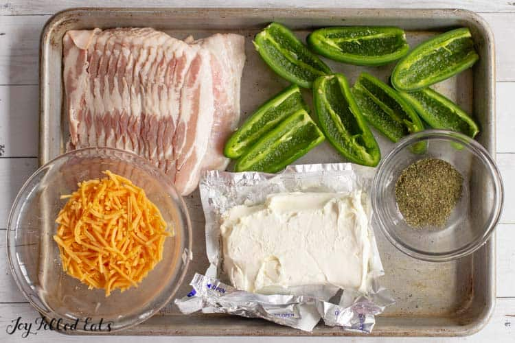 ingredients for Bacon Ranch Keto Jalapeno Poppers arranged on a sheet pan