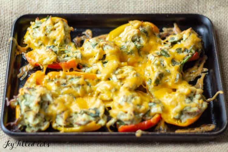 Chicken Stuffed Peppers topped with melted cheese in shallow sheet pan