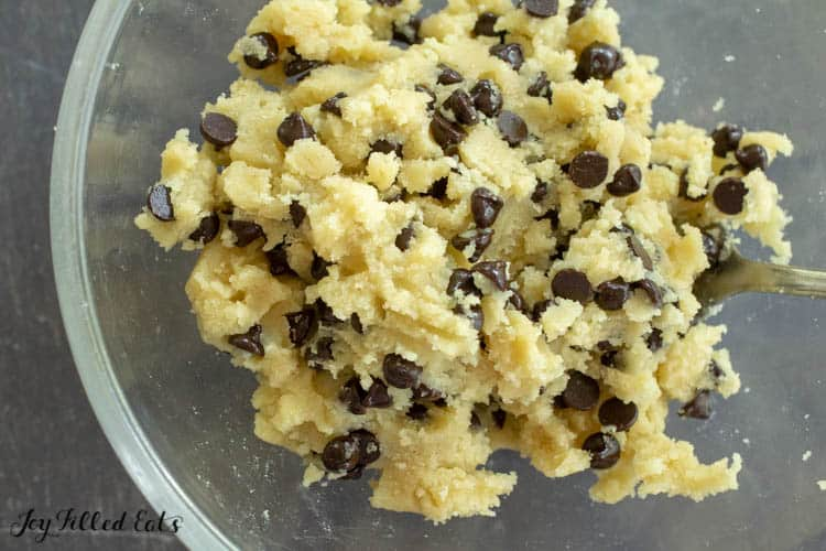 bowl of cookie dough from above