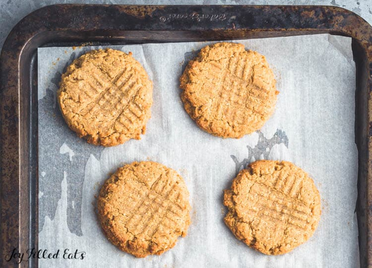 baked flourless peanut butter cookies on the cookie sheet
