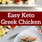 pinterest image for baked greek chicken with feta and dill