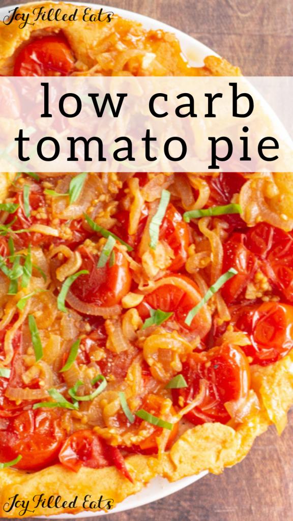 pinterest image for upside down tomato pie