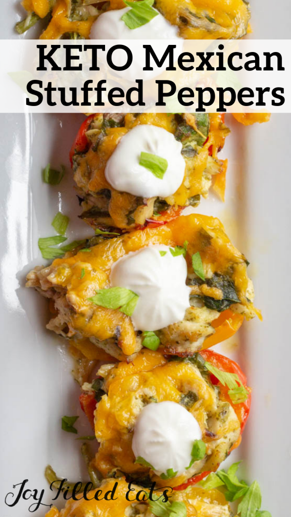 pinterest image for keto Mexican stuffed peppers