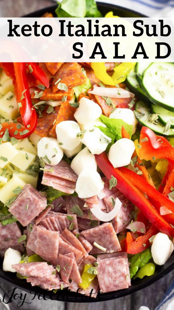 pinterest image for keto italian sub salad