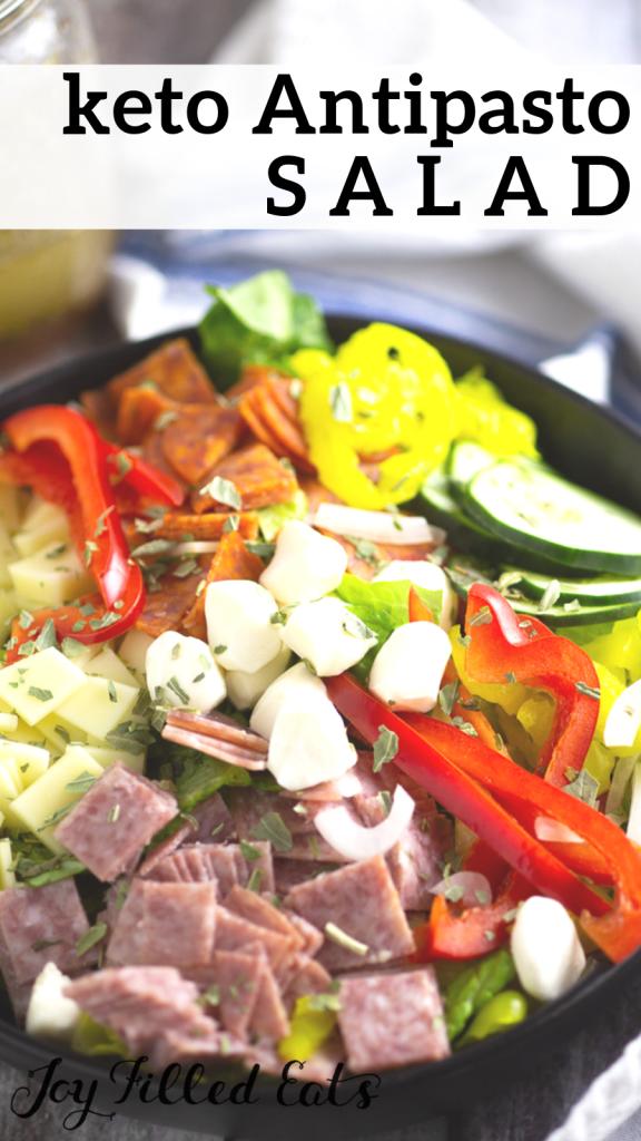 pinterest image for keto antipasto salad