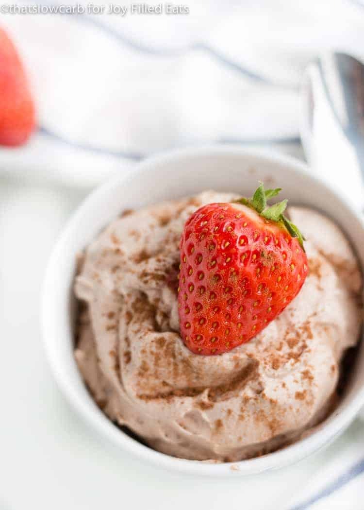 Chocolate Whipped Cream with a strawberry