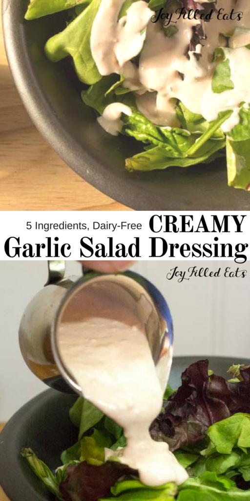 pinterest image for 5 ingredient creamy garlic salad dressing