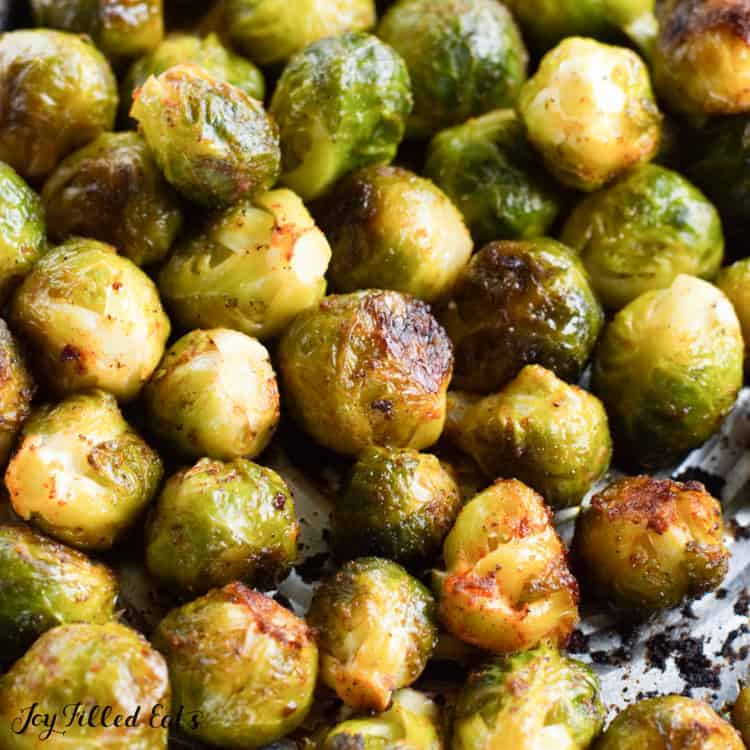 grilled Brussels sprouts close up