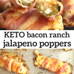 pinterest image for keto bacon ranch jalapeno poppers