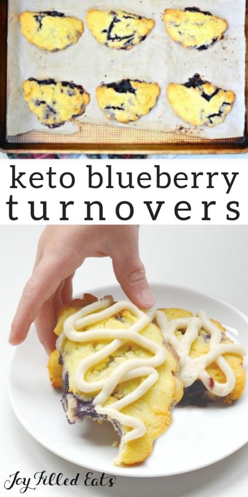 pinterest image for keto blueberry turnovers