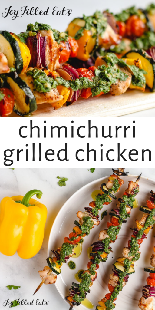 pinterest image for chimichurri grilled chicken