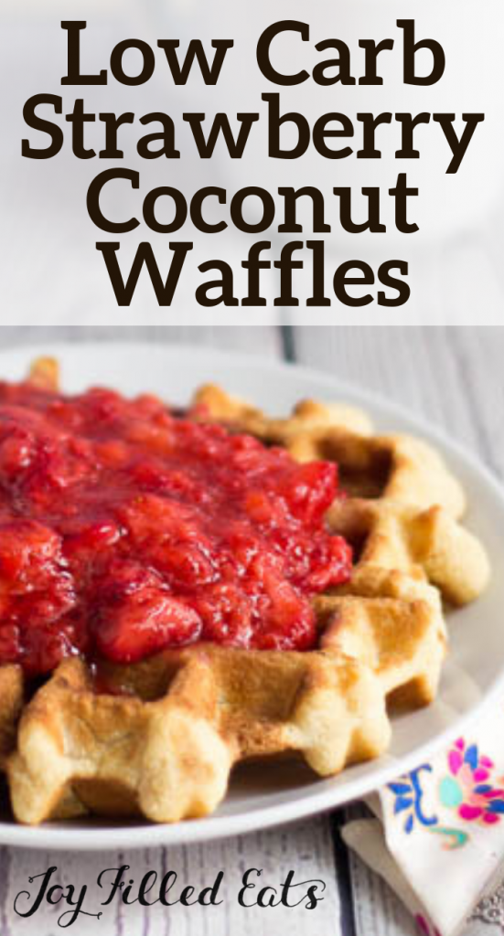 pinterest image for strawberry coconut waffles