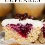 pinterest image for keto cranberry cupcakes