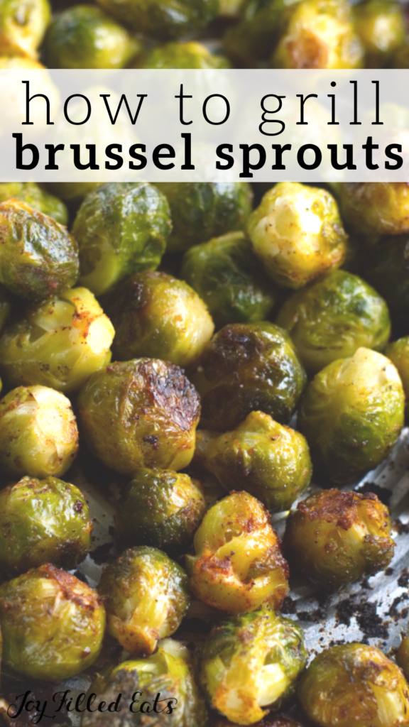 pinterest image for grilled Brussels sprouts