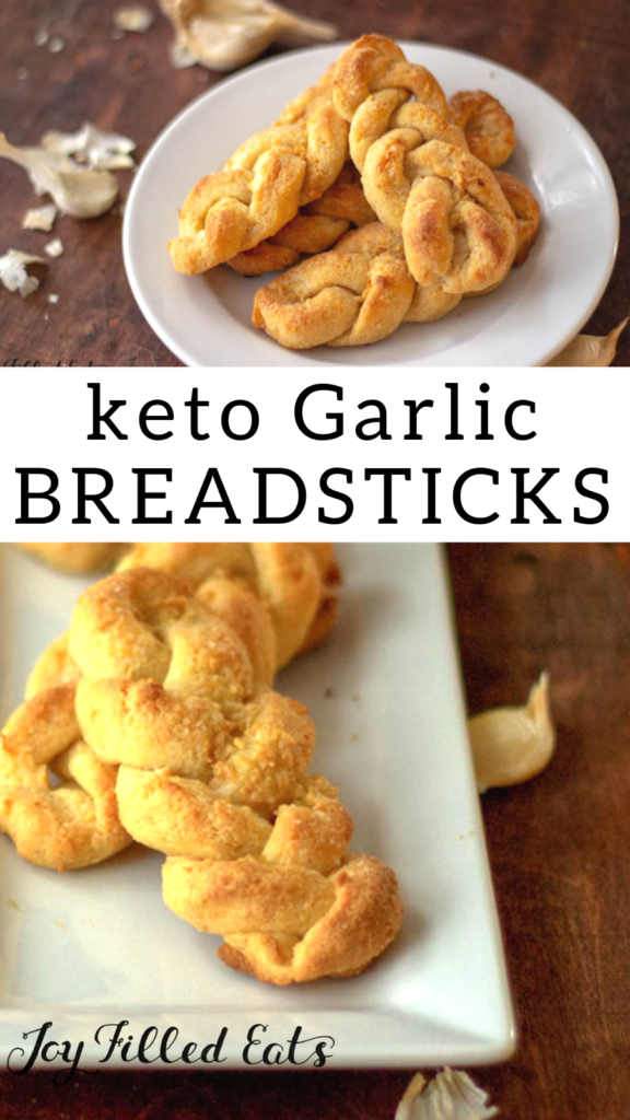 pinterest image for keto garlic breadsticks