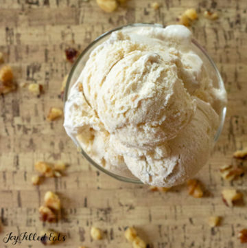 Overhead view of Maple Ice Cream with Candied Walnuts scattered on table