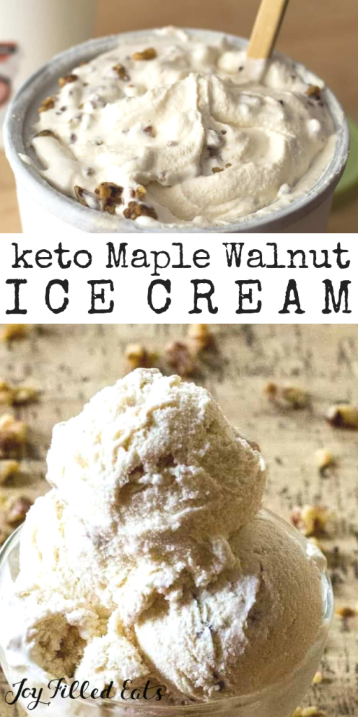 pinterest image for keto maple walnut ice cream