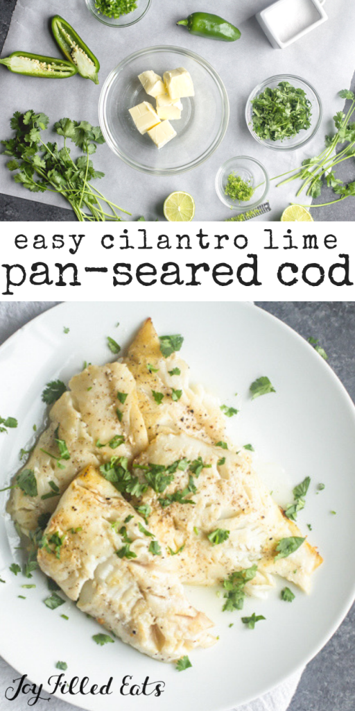 pinterest image for cilantro lime pan-seared cod