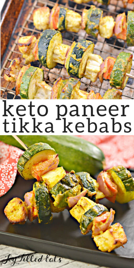 pinterest image for keto paneer tikka kebabs