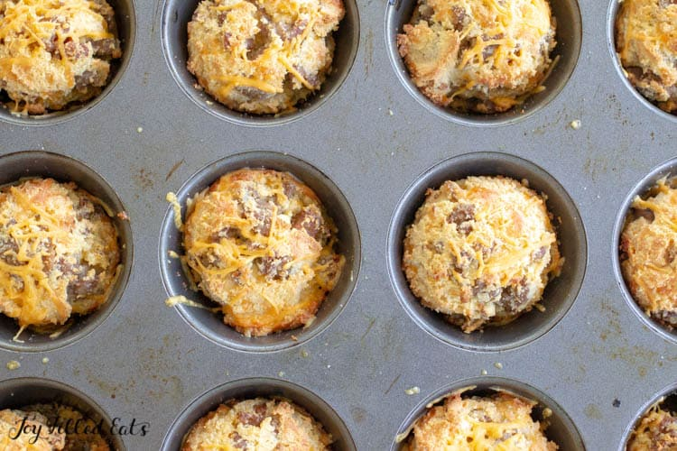 baked sausage muffins in a muffin tin