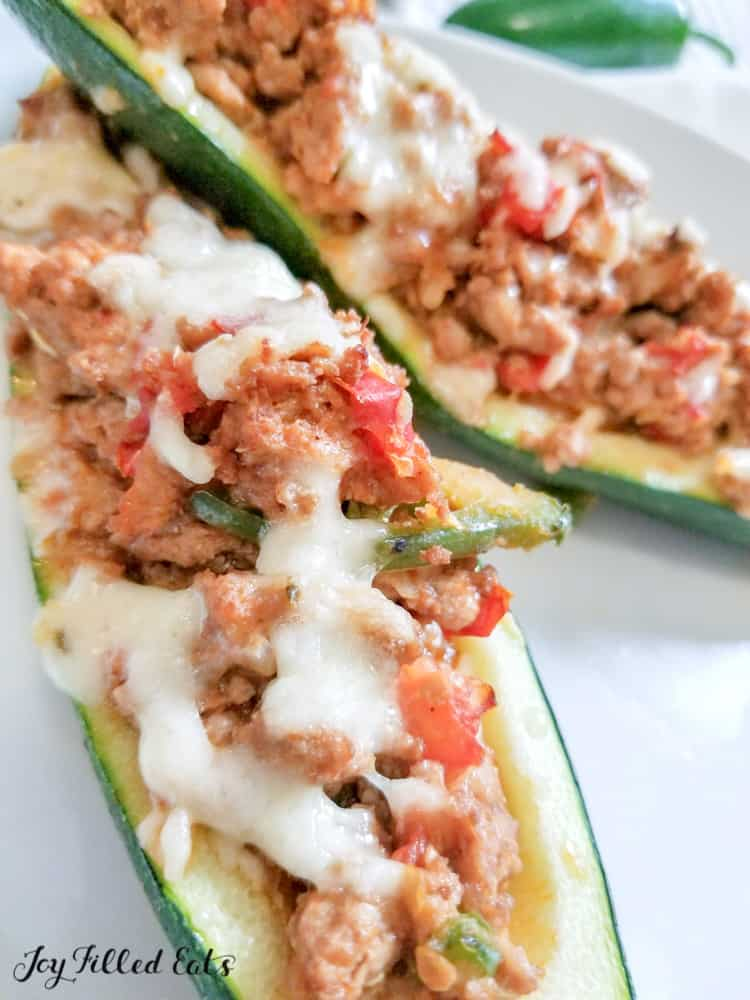the baked taco zucchini boats topped with cheese