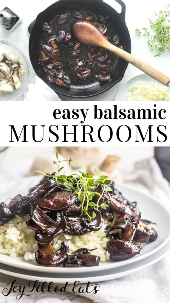 pinterest image for balsamic mushrooms