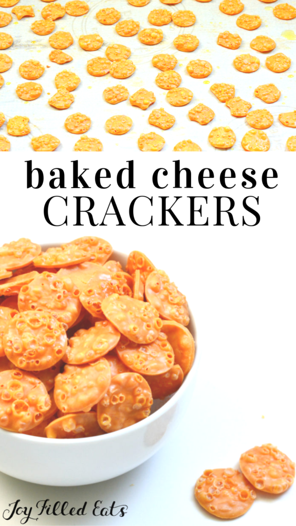 pinterest image for keto baked cheese crackers