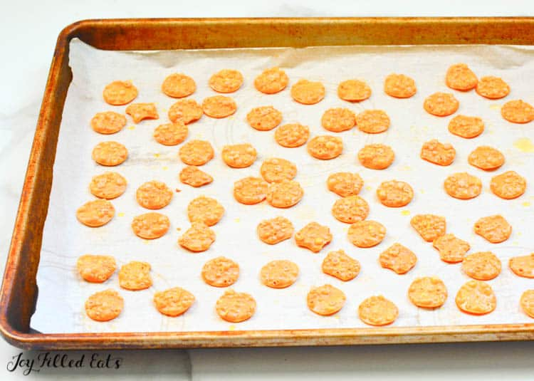 baked cheese crackers on parchment